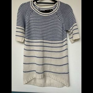 Dex, small, blue & white, knit half-sleeve top